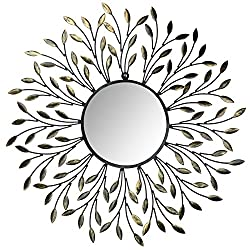 Lulu Decor, Decorative Metal Vine Wall Mirror, Frame Measures 25, Round Beveled Mirror 9, Perfect for Housewarming Gift(L72LM)