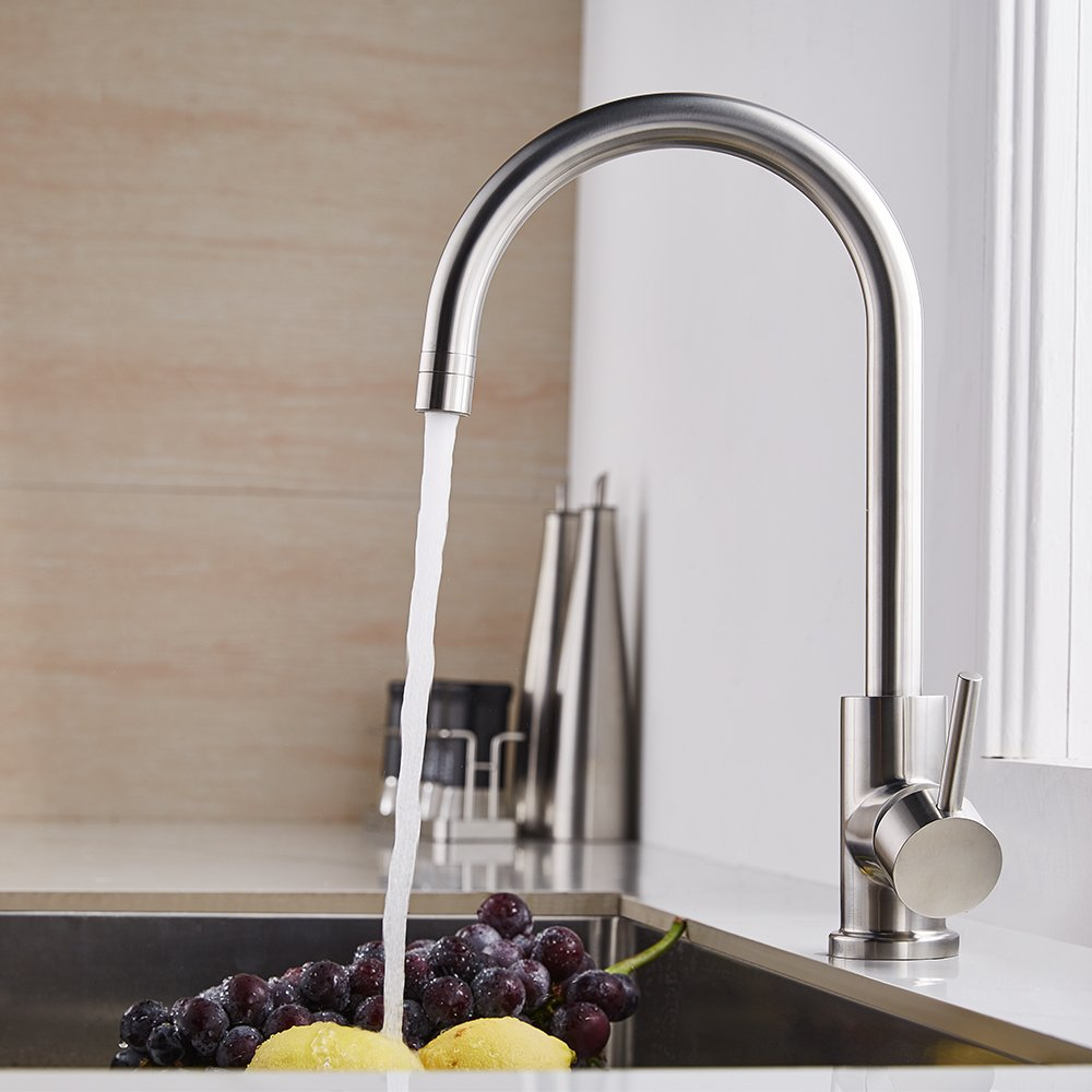 Trywell T304 Solid Stainless Steel Kitchen Sink Faucet, High Arc Single Lever Bar Faucet with Two-function Nozzle,1.8 Gpm by Trywell (Image #2)