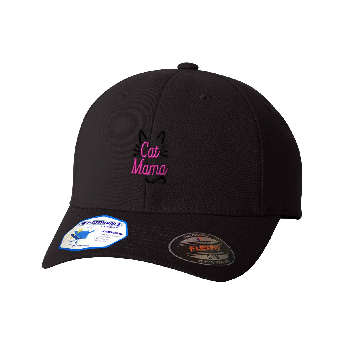 Custom Flexfit Hats for Men /& Women Cat Mama Face and Tail Pink Embroidery