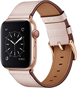 OUHENG Compatible with Apple Watch Band 40mm 38mm, Genuine Leather Band Replacement Strap Compatible with Apple Watch Series 6/5/4/3/2/1/SE, Pink Sand Band with Rose Gold Adapter