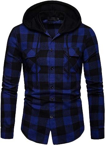 Cyiozlir - Camisa de cuadros con capucha para hombre, manga larga, con capucha, camisa de cuadros, camisa de franela, manga larga: Amazon.es: Ropa y accesorios