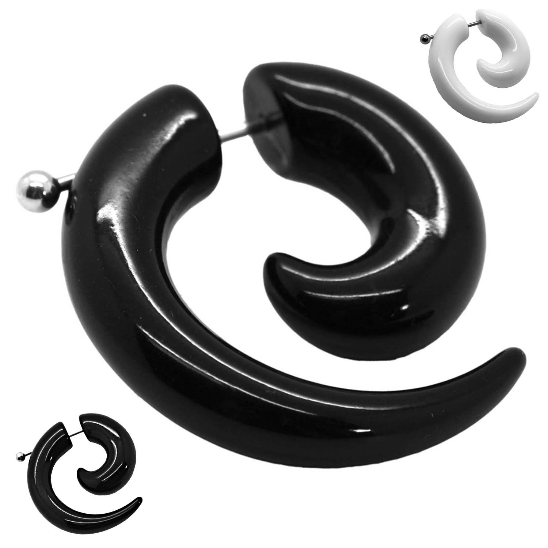2 Espiral Falso Dilatador Fake Taper Pendiente Piercing negro ...