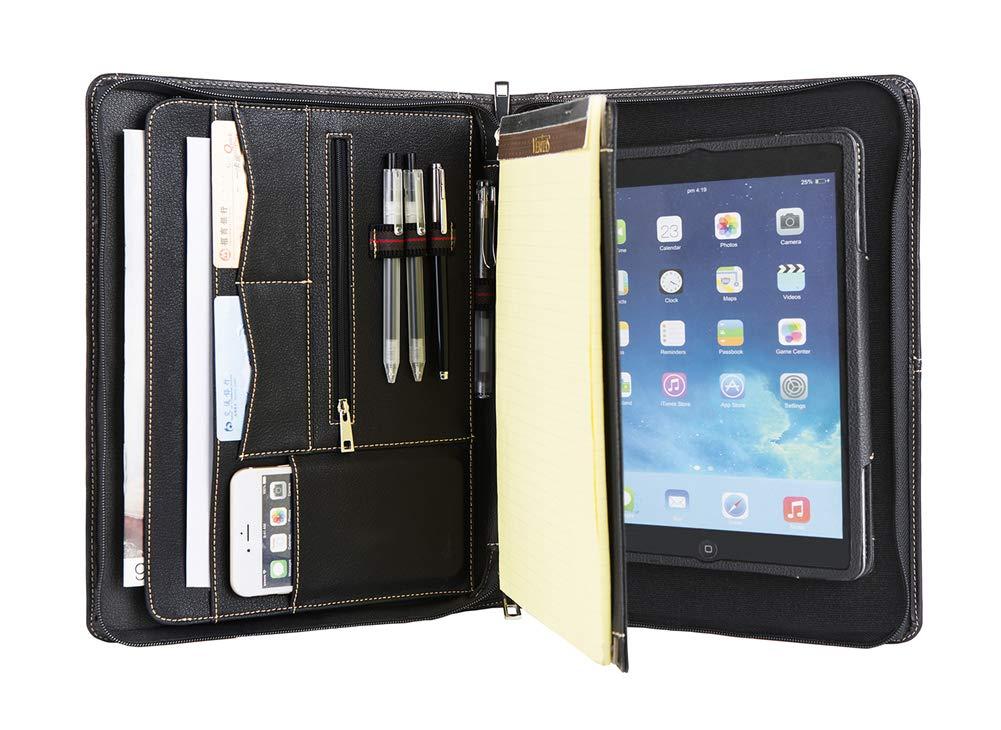 Tablet-Tasche mit A4 Schreibblockhalter Schwarz Gesch/äftsmappe 2018//2017 //iPad Pro 9.7,Schutzh/ülle Aufstellbar Handgearbeite Leder Konferenzmappe mit Rei/ßverschluss f/ür iPad 9.7