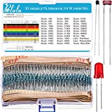 Blulu 900 Pieces Resistor Assortment Kit 30 Values 1% Assorted Resistors from 10 Ω to 1 MΩ 1/4 W Metal Film Resistors Variety Pack Plus 2 Thermistor, 2 Photoresistor