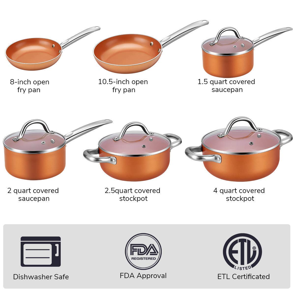 Kitchen Academy 10 Piece Nonstick Induction Cookware Set Includes Lids, Frying and Roasting Pans Accessories by Kitchen Academy (Image #8)