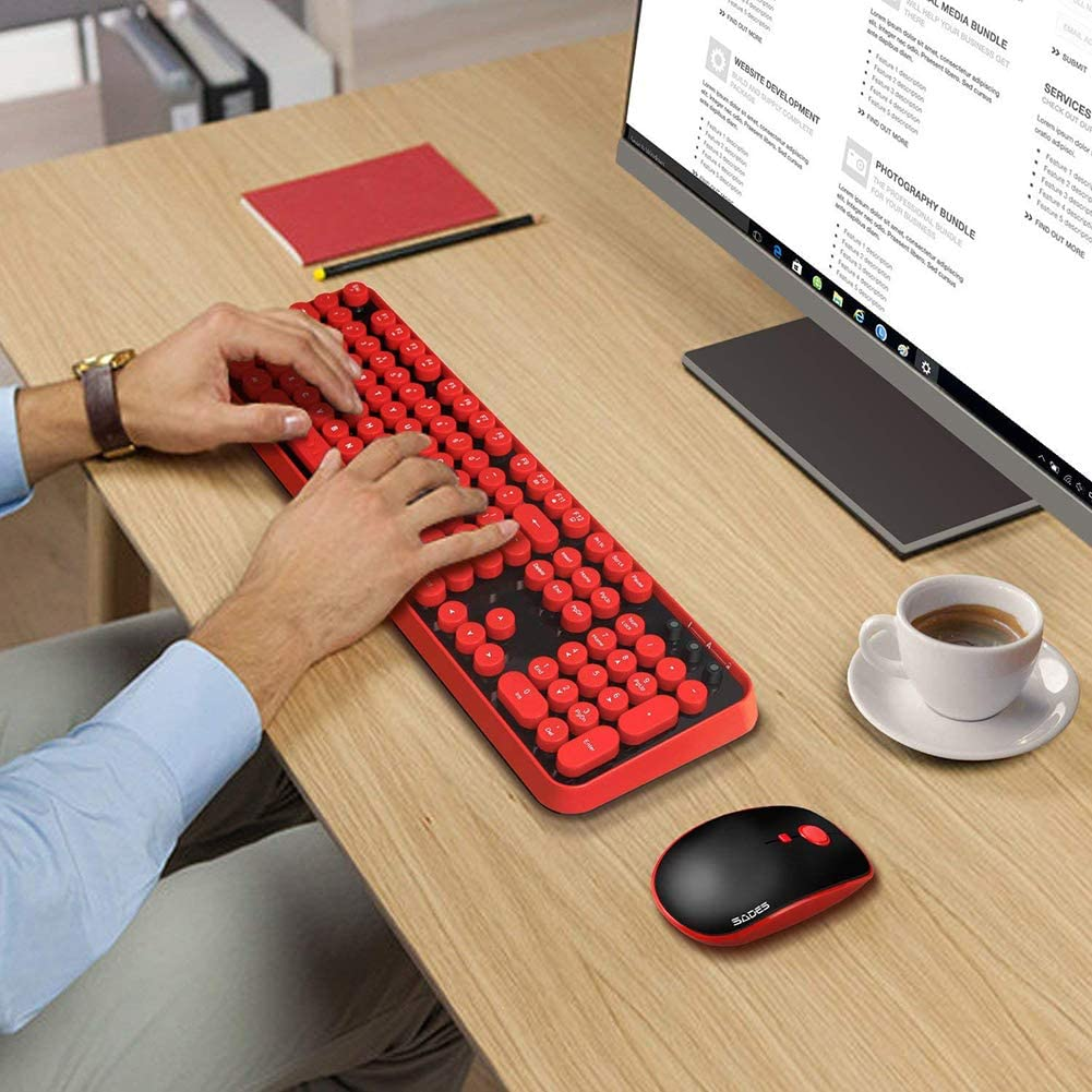 YCKZZR Wireless Keyboard and Mouse Combo Ergonomic Lovely Round Key 2.4Ghz Wireless Band Transmitter 10 Meters Transmission Distance Compatible with Windows PC Windows Laptop and More