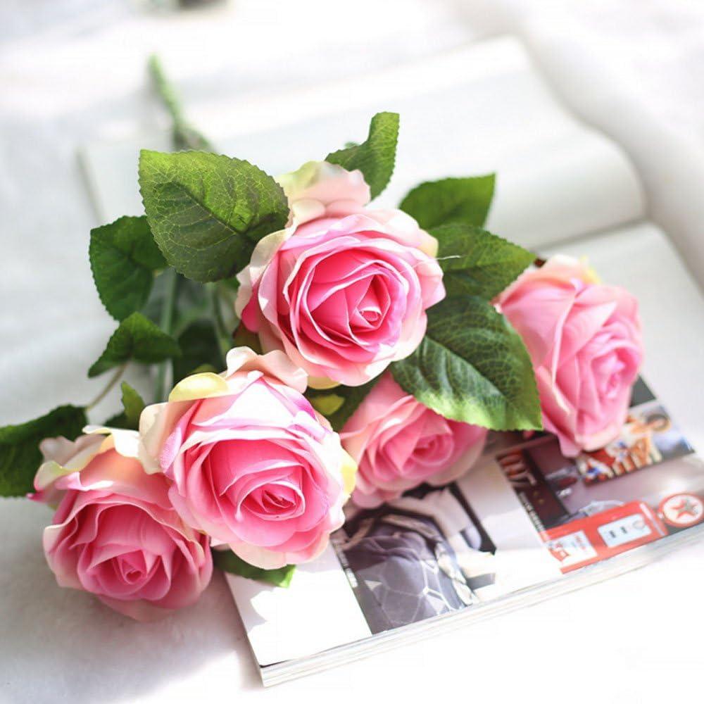 Amazon Com 5 Heads Artificial Flowers Silk Roses Flower Bouquet