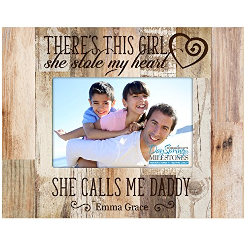 - LifeSong Milestones Personalized Gifts for Dad Custom Picture Frame There's This Girl she Stole My Heart and he Calls me Daddy (Distressed Dark Faux Barnwood)