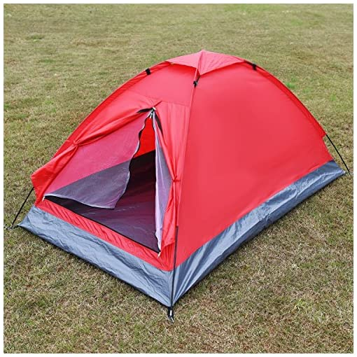 Waterproof-2-Person-Camping-Tent-Travel-Outdoor-Hiking-Double-Layer-Backpack-Red