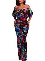 FairBeauty Women Fashion Floral Off Shoulder Ruffle Fishtail Evening Grown Long Maxi Dress