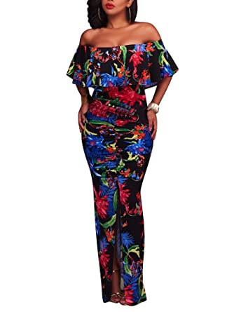 6a7d420bd7335 FairBeauty Women Summer Sexy Casual Split Floral Print Strapless Bodycon  Cocktail Party Long Maxi Dress Black