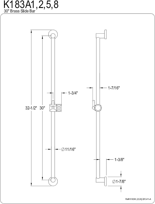 Kingston Brass K183A8 Designer Trimscape Showerscape 30-Inch Brass Shower Slide Bar Brushed Nickel