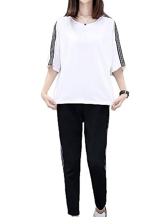 60d2c16e15fefe Amazon | [モノア] ジャージ 上下セット レディース ファッション スリーライン 半袖 tシャツ 九分丈 パンツ セット ホワイト M |  上下セット 通販