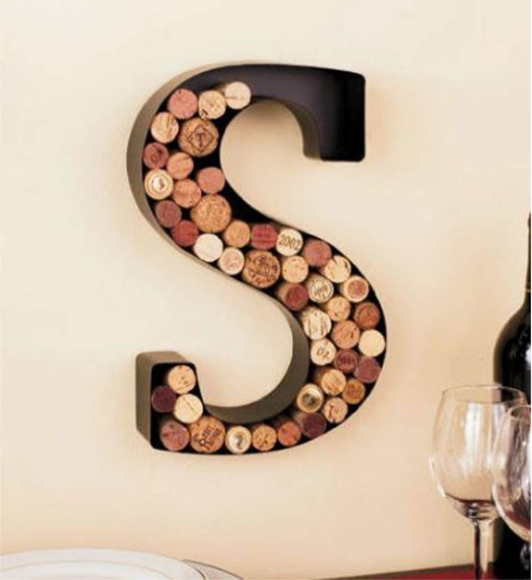 Black LDI Monogram Wine Cork Holder Letter S by LTD