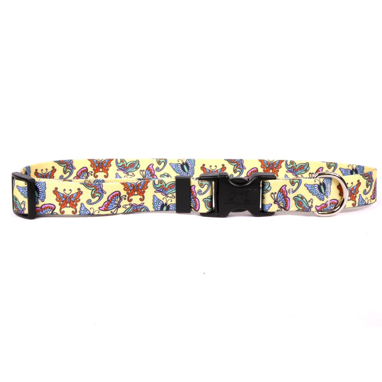 Yellow Dog Design Butterflies On Yellow Dog Collar 1'' Wide and Fits Neck 18 to 28'', Large