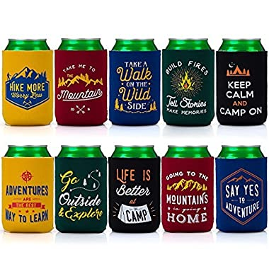 Avery Barn 10pc Mixed Design Camp Theme Neoprene Zipper Sleeve Insulated Beer Can Covers - Set 1: Great Outdoors