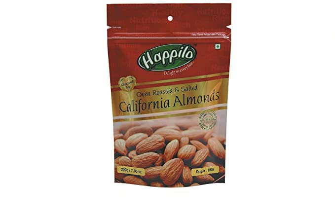 Happilo�Premium Roasted and Salted Californian Almonds, 200g (Pack of 2)