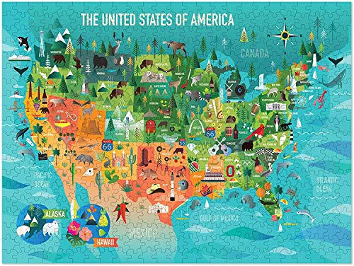 Americanflat 500 Piece Jigsaw Puzzle, 18x24 Inches, USA Map Art by Amanda Shufflebotham