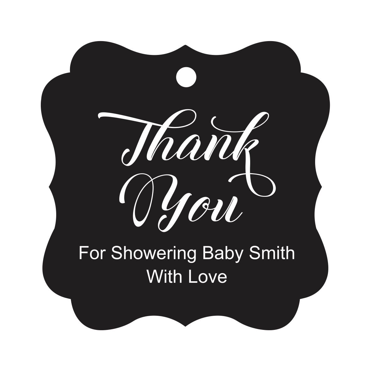 Darling Souvenir Baby Shower Thank you Favor Tags Custom Hang Gift Tags-Black-100 Tags