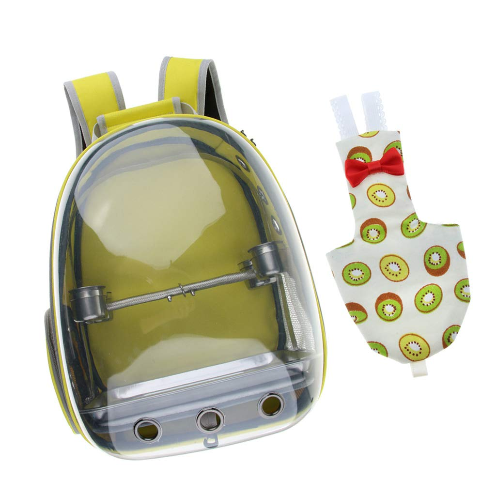 Homyl Clear Cover Pet Bird Parred Travel Cage Carrier with 1 Set Perch Cup, and Bird Cockatiels Kiwi Print Nappy Diaper Urine Pad (Yellow)