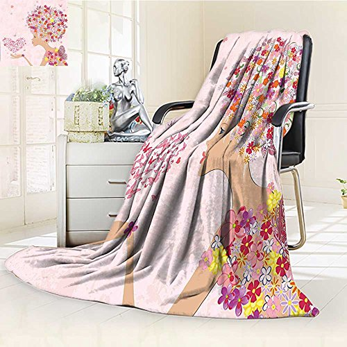 YOYI-HOME Luxury Collection Ultra Soft Plush Fleece Girl with Heart of Butterflies Wings Spring Theme Artistic Hand Drawn Multicolor All-Season Throw/Bed Blanket /W31.5 x H47