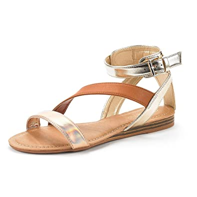 c1d685eb451f DREAM PAIRS Womens Nora Open Toe Fashion Buckle Crisscross Valcre Ankle  Straps Summer Design Flat Sandals