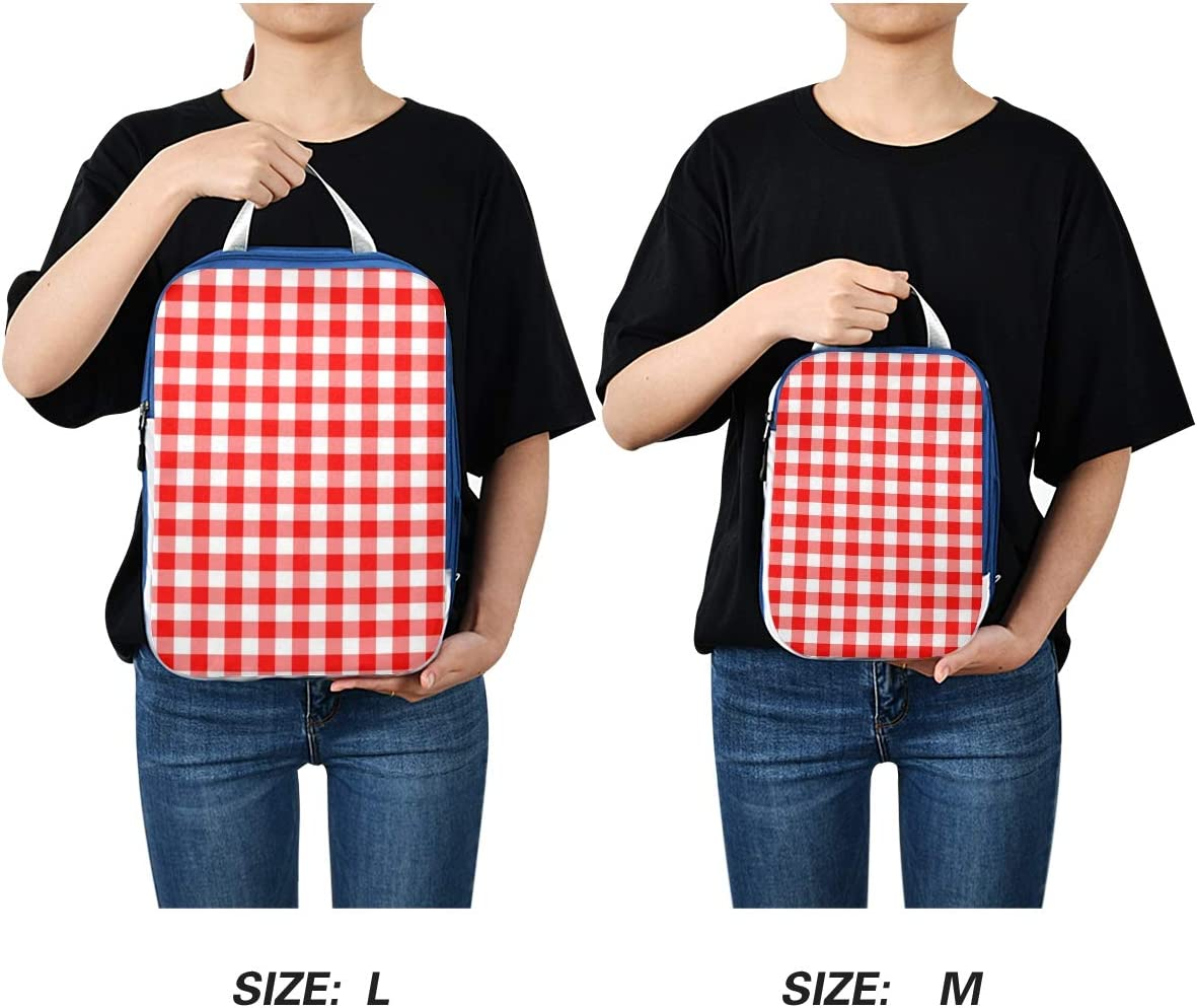 t Red White Plaid 3 Set Packing Cubes,2 Various Sizes Travel Luggage Packing Organizers