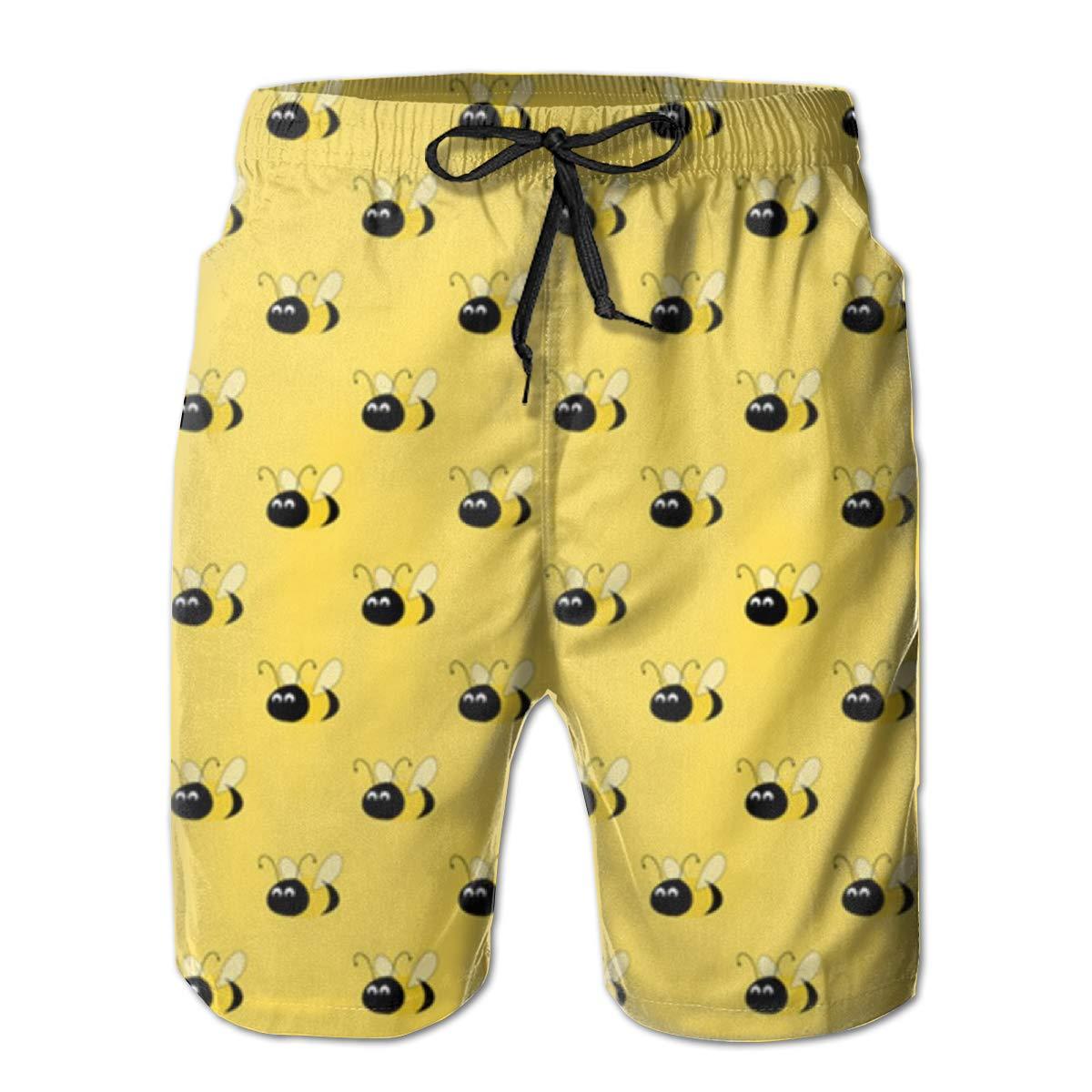 Bumblebee Yellow Mens Swim Trunks Beach Shorts with Mesh Lining Boardshort