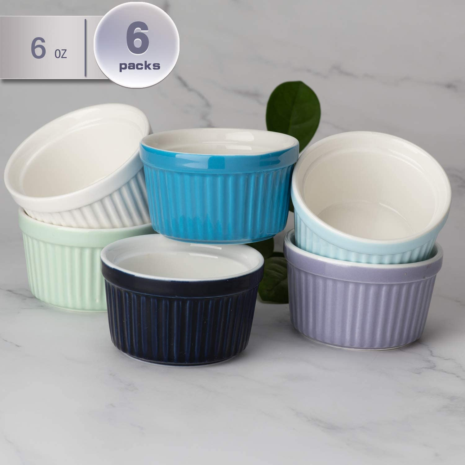 amHomel Porcelain Souffle Dishes Ramekins Bakeware Set, 8 OZ Baking Cups Creme Brulee and Ice Cream, Set of 6, Cold Assorted Color