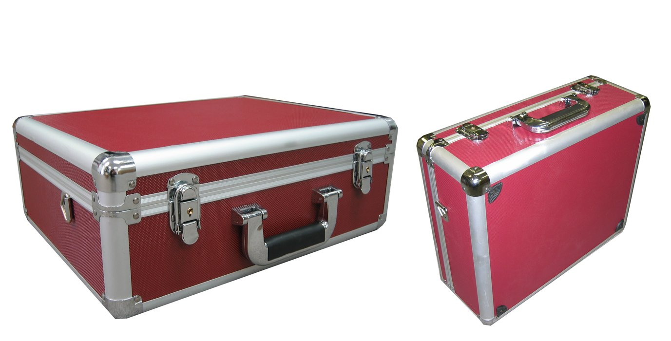 Red Aluminum Camera Case also for Tools and small Equipments With Foam Ship to Canada and USA