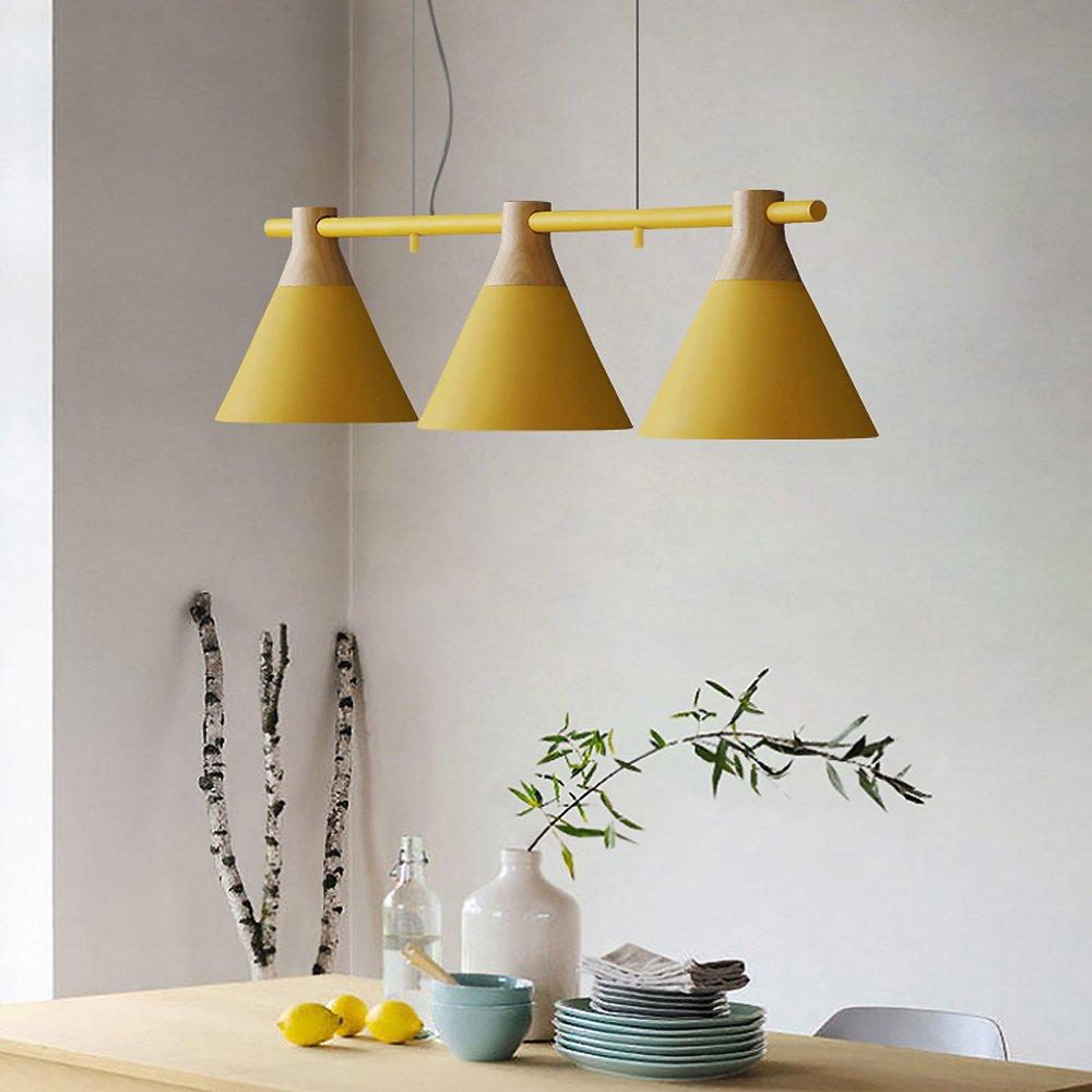 Lámpara Colgante de Techo Araña Iluminación Pendiente Luz Interior Altura Regulable de Metal y Madera, 3x3W Bombillas Reemplazables (incluidas) de ...