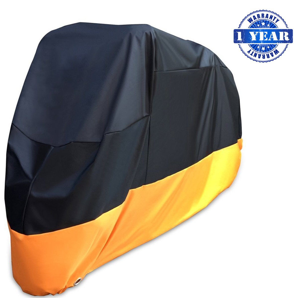 XYZCTEM Motorcycle Cover-All Season Waterproof Outdoor Protection - Precision Fit for 116 inch Tour Bikes, Choppers and Cruisers(XXXL,Black& Orange)-1 Year Warranty