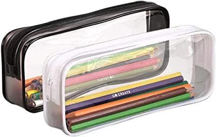 Veyarien - Estuche transparente para lápices, de PVC, de gran capacidad, con cremallera, para almacenamiento de cosméticos o artículos de papelería, 2 unidades, color Negro y transparente.: Amazon.es: Oficina y papelería