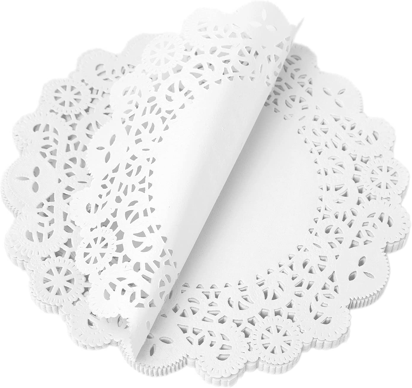 LOmines Paper Lace Doilies 200PCS Round Paper Placemats Doily - Decorative & Disposable for Dessert Fried Food, Wedding Tableware Decoration, Cake Packaging - 8.5