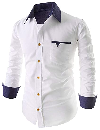 d50ee955 IndoPrimo Men's Cotton Casual Shirt for Men Full Sleeves: Amazon.in:  Clothing & Accessories