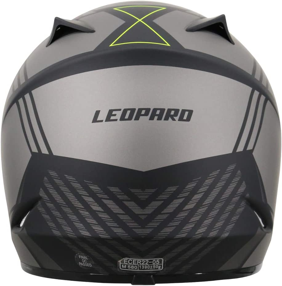 Motorradhelm Damen und Herren ECE Genehmigt 53-54cm 8cm Leopard LEO-X307 Motocrosshelme Schwarz Matt XS + Erwachsene Motocrosshandschuhe S