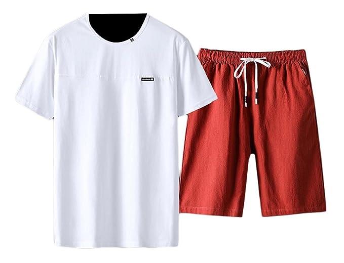 Comaba Mens 2 Piece Set Half Pants Sport Basic Cotton Basic Tracksuit Set at Amazon Mens Clothing store: