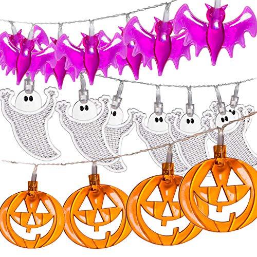 Brightown 3-Pack Halloween String Lights Battery Operated, Orange Pumpkin Bat Ghost 9.8ft. 30LEDs Lights Each Indoor/Outdoor Halloween Holiday Decoration,White + Orange + -