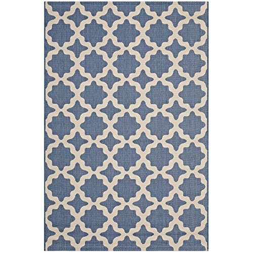 Modway R-1139C-810 Cerelia Distressed Vintage Floral Lattice 5x8 Area Rug, 8X10, Blue and Beige by Modway