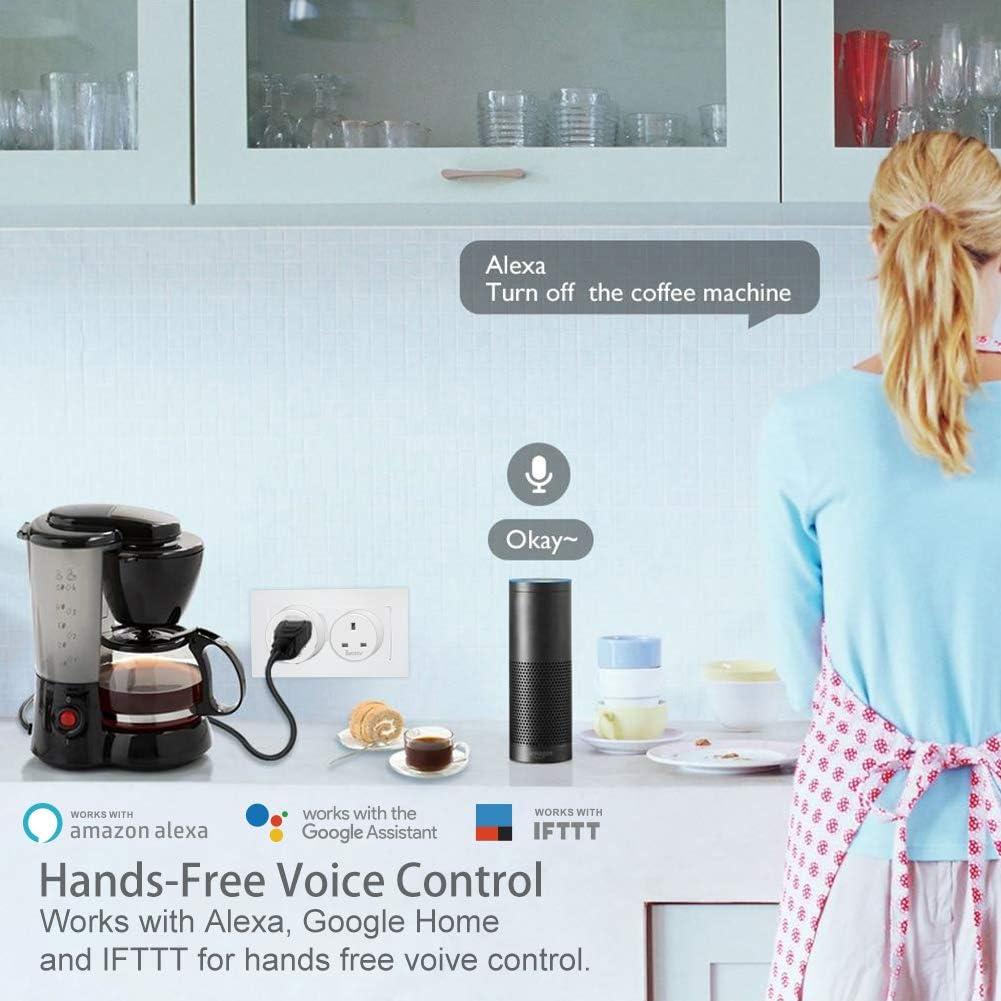 Enchufe inteligente WiFi, control de avatar, enchufe inalámbrico, mini toma de corriente de pared, compatible con Alexa/Google Home/IFTTT, compatible con mando a distancia, temporizador y monitoreo de energía: Amazon.es: Bricolaje y herramientas