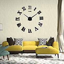 CdyBox Modern Style Large Roman Numbers 3D Wall Clock Kit for Office Home Living Room Bedroom Decor (Black)