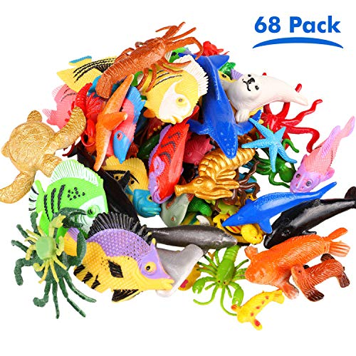 JVIGUE Ocean Sea Animals Figures, 68 Pack Mini Plastic Sea Life Creatures Toy Set, Fish Bath Pool Toys, Educational Toys Gift for Kids Cupcake Topper Party Favors