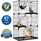 Large 3-Tier Cat Cage Pet Playpen Cat Crate Kennels 67' Height Kitten House Furniture Wire Metal Pet Enclosure w/3 Front Doors 2 Ladders 2 Platforms Bed Hammock Cat Condo for Ferret Rat Cat chinchilla