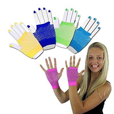Toy Cubby Funky Retro Style Colorful Fishnet Wrist Gloves - 6 Pieces