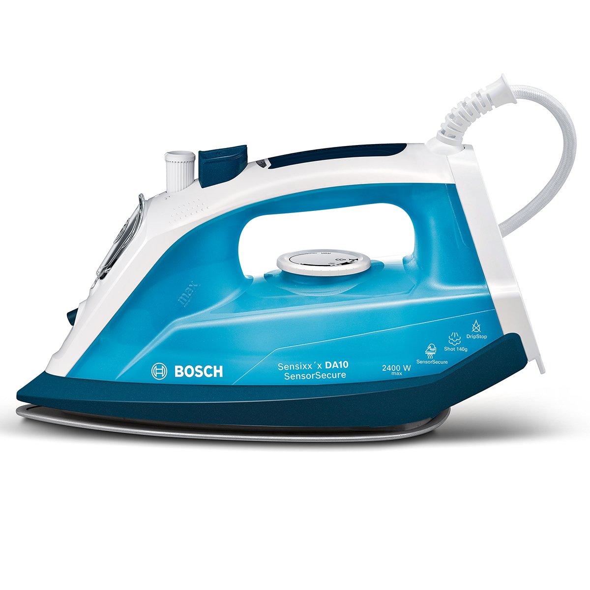 Bosch TDA1024210Steam Ferro da stiro Sensixx' x DA10Sensor Secure (2400Watt max.A vapore, colpo 140g/min., extra 35G/min vapore.Piastra, Palladio Glissee, QUANTITÀ) Magic Night Blu/Azzurro Ghiaccio
