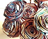 Distressed Wood Paper Rose Bouquet Vintage Rustic Shabby Chic Home Decor Artificial Flora Flowers Gift for Her Him Wedding Paper Flower Bouquet Handmade (Bunch of 5-6)