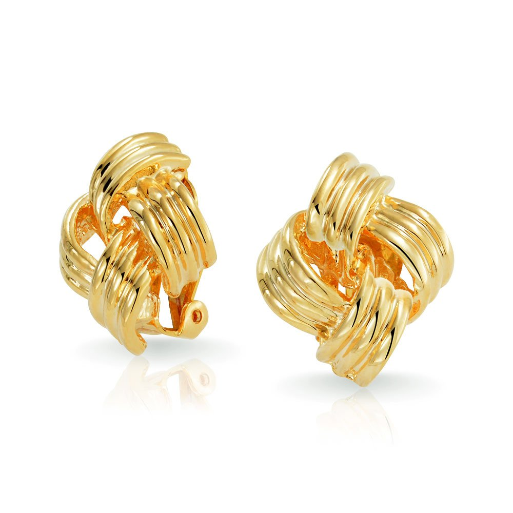 Bling Jewelry Gold Plated Brass Large Square Woven Love Knot Clip On Earrings AG-SE-3173-GL