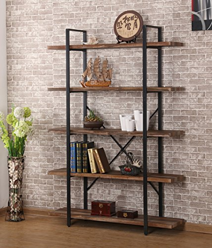 O&K Furniture 5-Shelf Industrial Style Bookcase and Shelves, Free Standing Storage shelf units by O&K Furniture