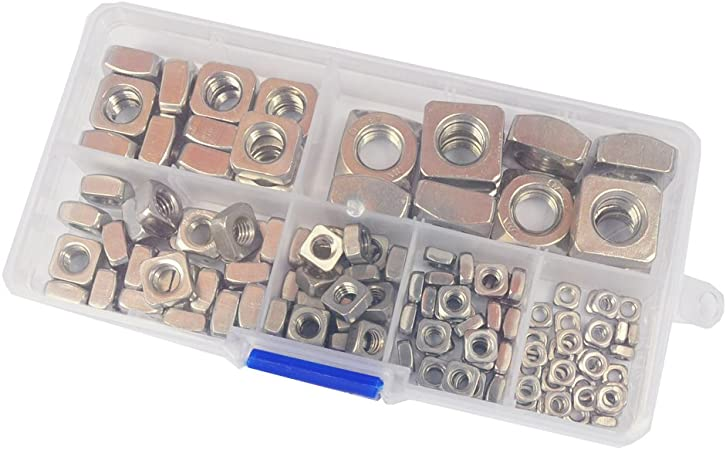 Yoohey 140pcs Stainless Steel Square Nuts M3 M4 M5 M6 M8 M10