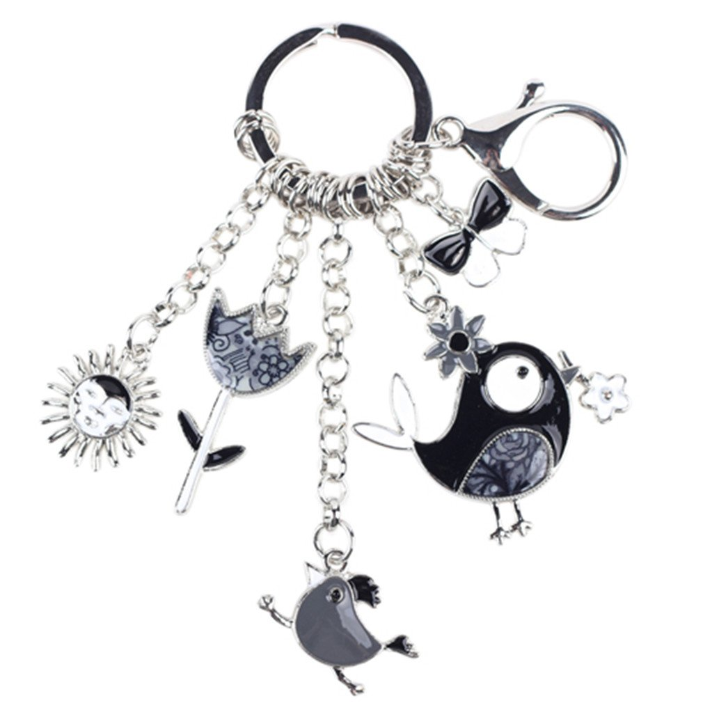Enamel Alloy Fish Chicken Marvel Alloy Key Chain For Women Girl Bag Keychain Charm Pendant Jewelry Aceessorie Gray